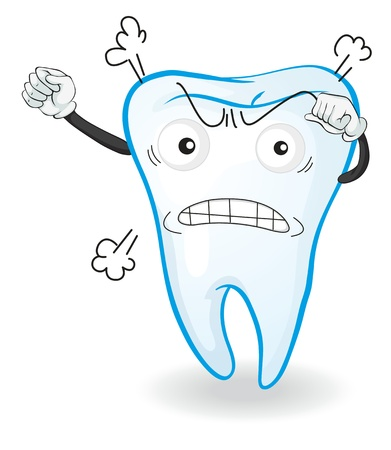 illustration of a tooth in angry mood on white Illustration