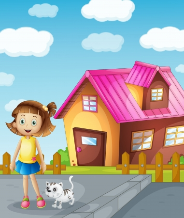 house cat: detailed illustration of a girl and cat infront of house Illustration