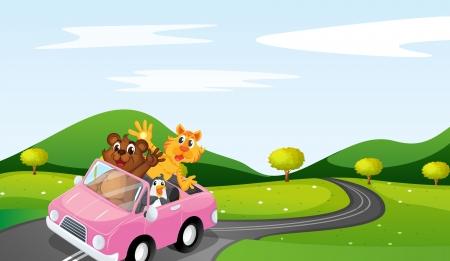 nutria caricatura: ilustraci�n de gato, ottar y ping�inos en una hermosa naturaleza