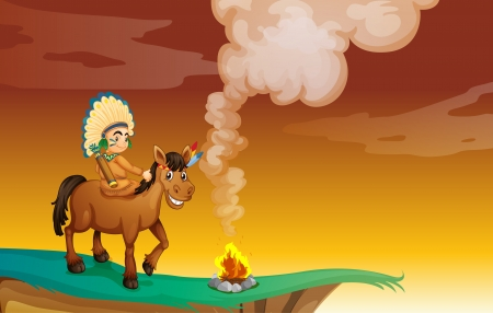 morning walk: illustration of an Indian and a horse in a beautiful nature Illustration