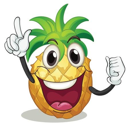 pineapples: ilustraci�n de la pi�a sobre un fondo blanco