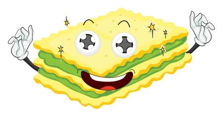 stuffing: illustration of a sandwich on a white background Illustration