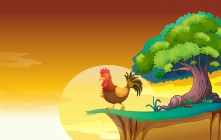greenary: illustration of a hen in a beautiful nature Illustration
