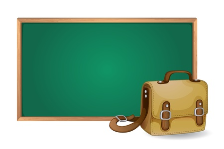 green board: illustration of a green board and school bag on white background