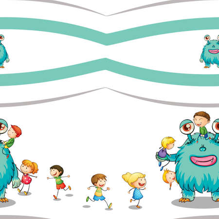 horrific: illustration of a kids and monster on a white background