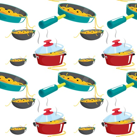 illustration of nuddles and various pots on a white background Vector