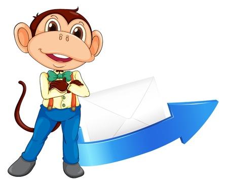 envelop: illustration of a monkey, arrow and envelop on a white background Illustration