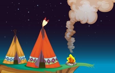 colony: illustration of a tent house and fire in a dark night