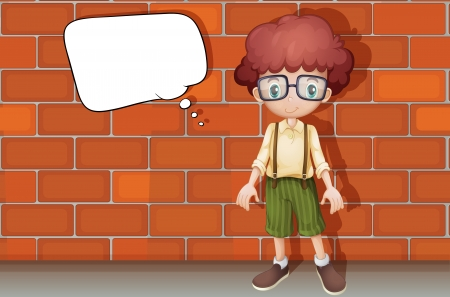 illustration of a boy standing in front of wall Vector