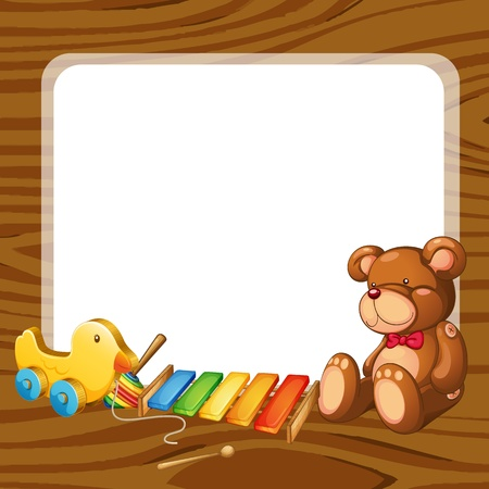xylophone: illustration of toys and board  on a white backgound