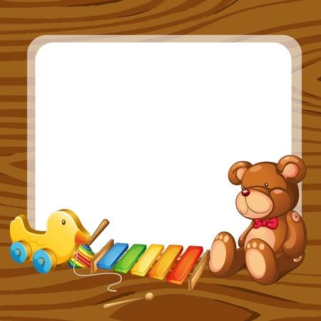 xylophone: ilustraci�n de los juguetes y comida en un backgound blanco