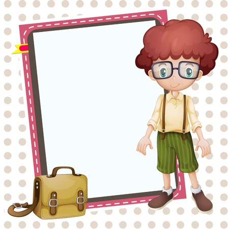 man presenting: illustration of a boy, a school bag and a white board