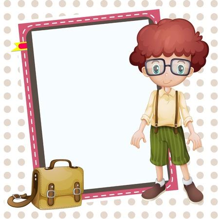 school bag: Illustrazione di un ragazzo, un sacchetto di scuola e di un bordo bianco