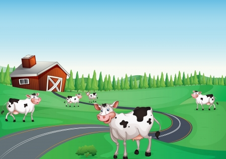 illustration of a house and a cow in a beautiful nature Vector