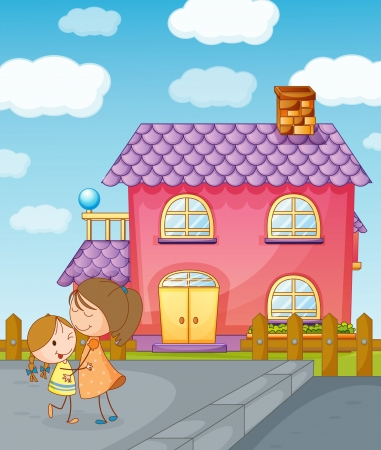 illustration of girls and house in a beautiful nature Vector