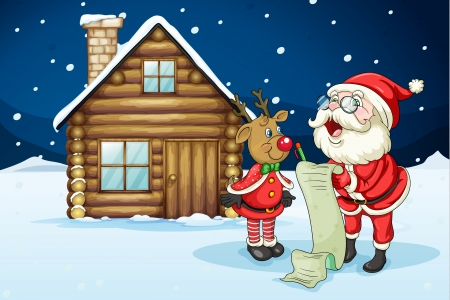 Illustration of santa claus and reindeer in night Vector