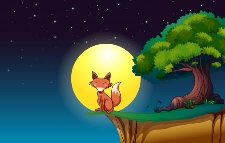 fox: illustration of a fox in a dark night under a tree Illustration