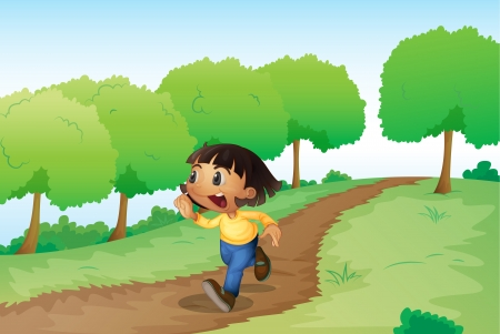 young woman running: illustration of a girl in a beautiful nature Illustration