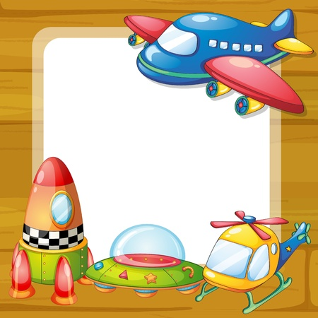 aircraft aeroplane: illustration of toys and a board on a white backgound Illustration