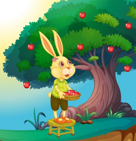 greenary: illustration of a rabbit in a beautiful nature