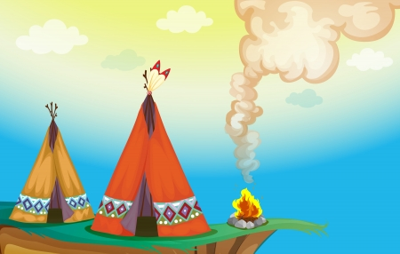 greenary: illustration of a tent house and fire in a beautiful nature