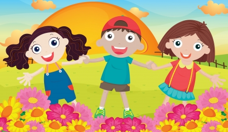 illustration of kids and landcape in a beautiful nature Stock Vector - 15668248