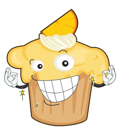 steam mouth: illustration of a cake on a white background