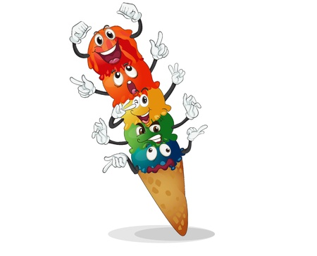 illustration of Ice cream on a white background Vector