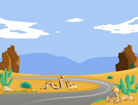 desert road: illustration of two snakes in the desert