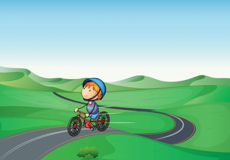 illustration of a boy and a road in a beautiful nature Vector