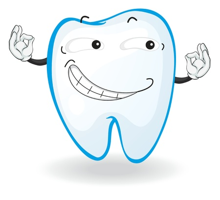 cartoon mouth: illustration of a tooth on a white background