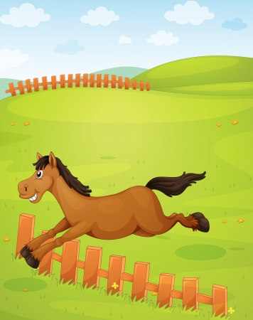 running: illustration of horse in a beautiful nature Illustration
