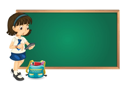 illustration of a girl and a green board on white background Vector
