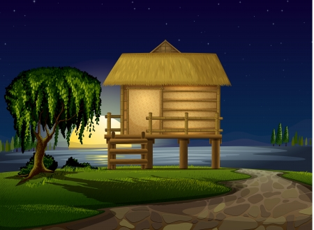 illustration of a house and stars in night sky Vector