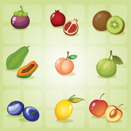 the green papaya: illustration of various fruits on a green shade background