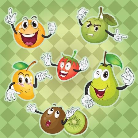 nice food: Иллюстрация различных фруктов зеленого клетчатый фон