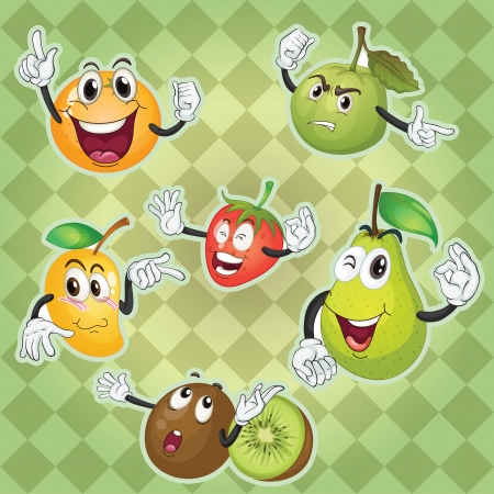 fruit clipart: illustration of various fruits green checkered background Illustration