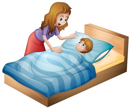 illustration of a mother and her son on a white background Vector