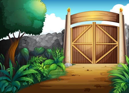 entrance gate: illustration of a gate in a beautiful nature Illustration