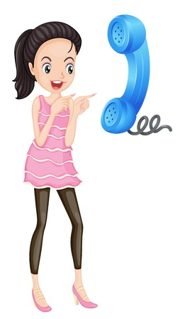 illustration of a girl and a phone receiver on a white background Stock Vector - 15706569