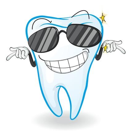 dientes caricatura: Ilustraci�n de un diente en un fondo blanco