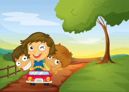 cartoon grass: illustration of kids and a car in a beautiful nature Illustration
