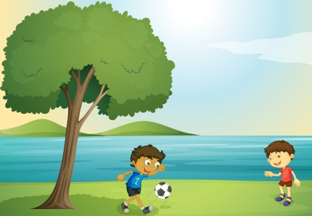 illustration of kids playing football in a beautiful nature Stock Vector - 15706605