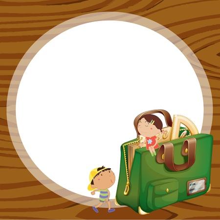 sac d ecole: illustration des enfants et sac d'�cole sur un backgound bois