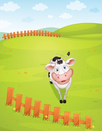 illustration of a cow in a beautiful nature Stock Vector - 15706604