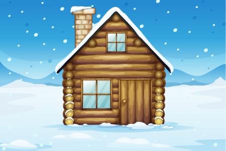 caba�a: ilustraci�n de una casa en una hermosa naturaleza