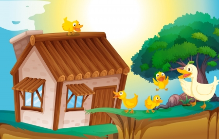 illustration of a wooden house and ducks in nature Vector