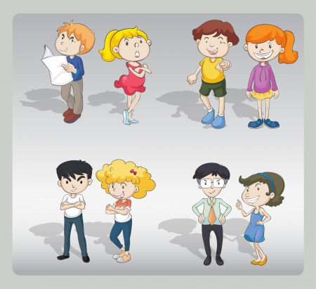 illustration of various characters on a grey background Vector