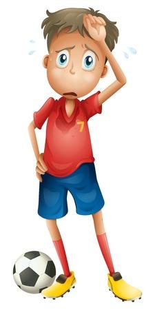sudando: ilustración de un niño y un balón de fútbol sobre un fondo blanco