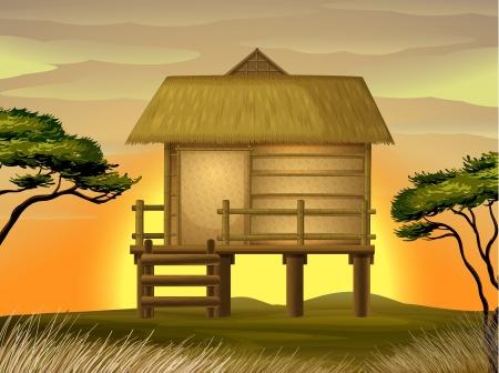 Darstellung einer Hütte in herrlicher Natur Vektorgrafik